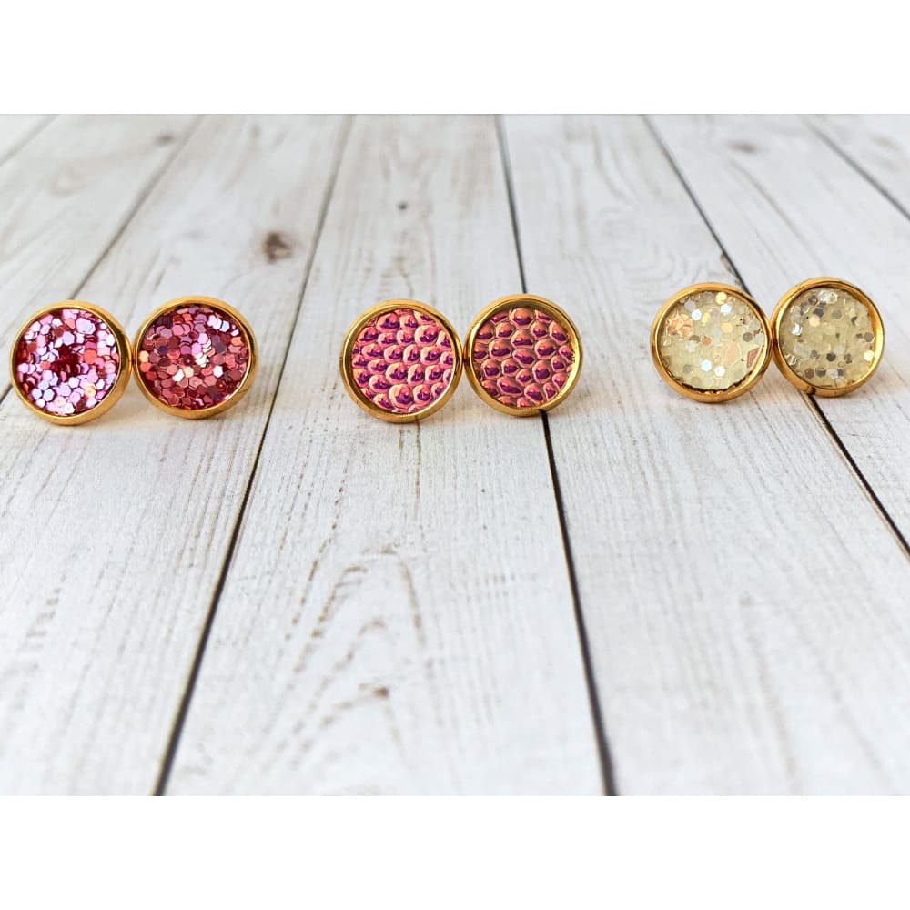 Boho Pink Textured Studs - Stud Earrings