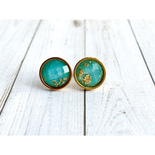 Load image into Gallery viewer, Bright Aqua and Gold Faceted Studs - Gold Arrow Studios