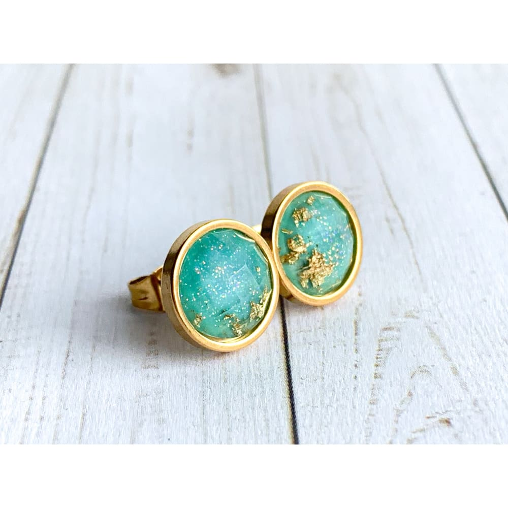 Bright Aqua and Gold Faceted Studs - Gold Arrow Studios