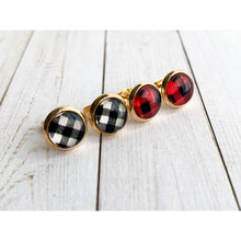Load image into Gallery viewer, Buffalo Plaid Studs - Both - Stud Earrings