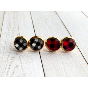 Buffalo Plaid Studs - Stud Earrings