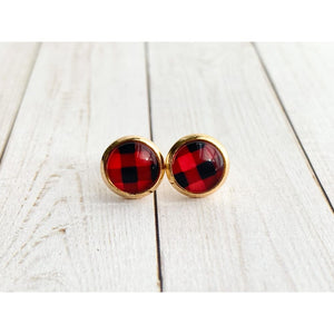 Buffalo Plaid Studs - Red - Stud Earrings