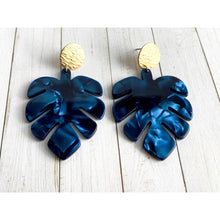 Load image into Gallery viewer, Deep Blue Leaf Dangle Earrings - Gold Arrow Studios