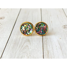 Load image into Gallery viewer, Dreamy Night Textured Studs - Pink and Blue Glitter - Stud Earrings