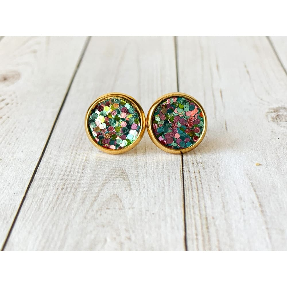Dreamy Night Textured Studs - Pink and Blue Glitter - Stud Earrings