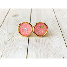 Load image into Gallery viewer, Dreamy Night Textured Studs - Pink Stars - Stud Earrings