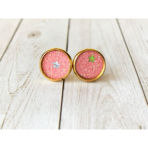 Dreamy Night Textured Studs - Pink Stars - Stud Earrings