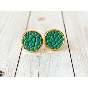 Dreamy Night Textured Studs - Teal Faux Leather - Stud Earrings