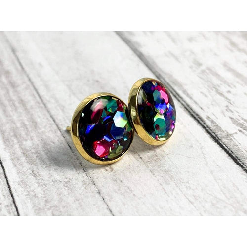 Glitter Party Stud Earrings - Gold Arrow Studios