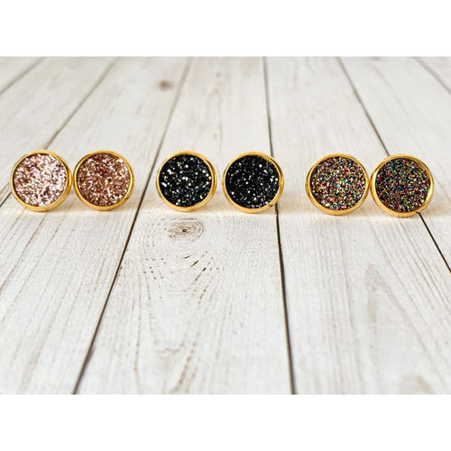 Glitter Party Textured Studs - Stud Earrings