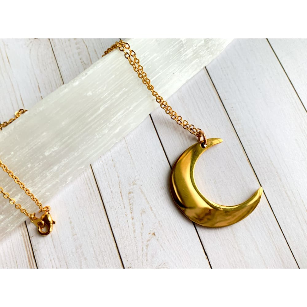 Gold Moon Pendant Necklace - Gold Arrow Studios