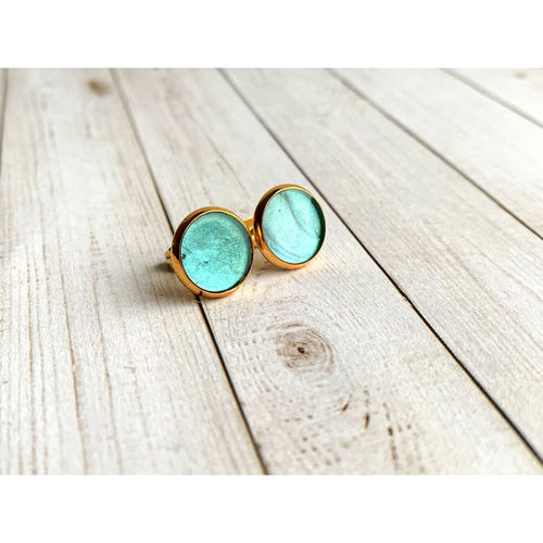 Green Abalone Studs - Stud Earrings