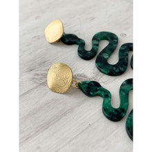 Load image into Gallery viewer, Green Snake Dangle Earrings - Gold Arrow Studios