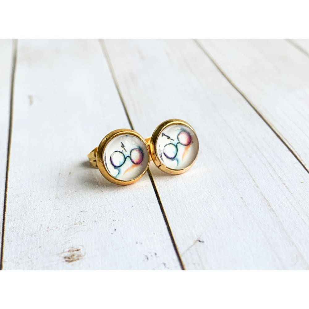 Lightening and Glasses Studs - Gold - Stud Earrings