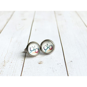 Lightening and Glasses Studs - Silver - Stud Earrings