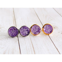 Load image into Gallery viewer, Lilac Druzy Studs - Stud Earrings