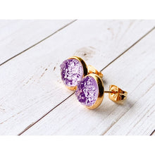 Load image into Gallery viewer, Lilac Druzy Studs - Gold - Stud Earrings