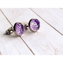 Load image into Gallery viewer, Lilac Druzy Studs - Silver - Stud Earrings