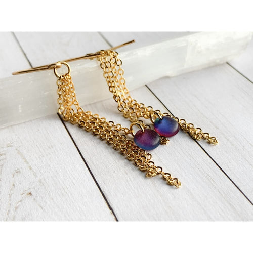 Luster Blue Dangle Earrings - Gold Arrow Studios