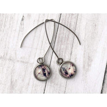 Load image into Gallery viewer, Maroon Marble Graphic Earrings - Gold Arrow Studios