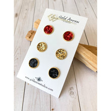 Load image into Gallery viewer, Merry & Bright Textured Studs - All Three - Stud Earrings