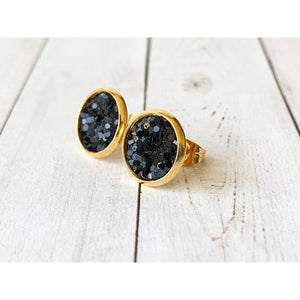 Merry & Bright Textured Studs - Black Glitter - Stud Earrings