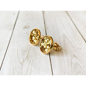 Merry & Bright Textured Studs - Gold Glitter - Stud Earrings