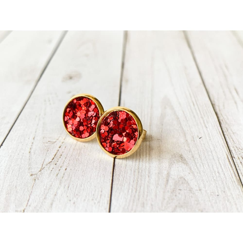 Merry & Bright Textured Studs - Red Glitter - Stud Earrings