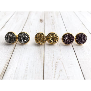Metallic Druzy Stud - Stud Earrings