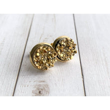 Load image into Gallery viewer, Metallic Druzy Stud - Stud Earrings