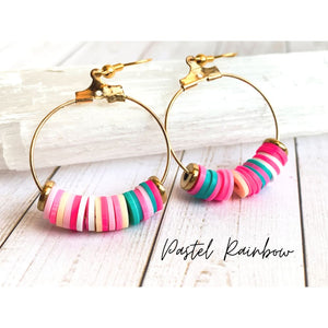 Multi Color Dangle Earrings - Pastel Rainbow - Dangle Earrings