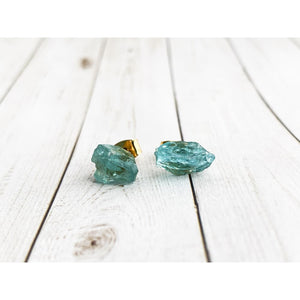 Neon Apatite Gemstone Earrings - Gold Arrow Studios