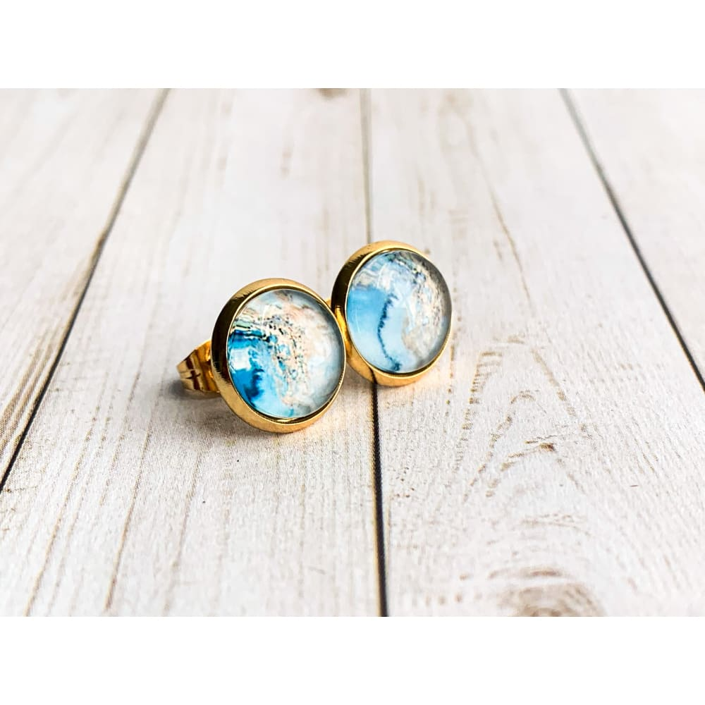Ocean and Beach Graphic Studs - Gold Arrow Studios