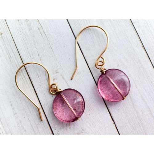 Pale Amethyst Dangle Earrings - Gold Arrow Studios