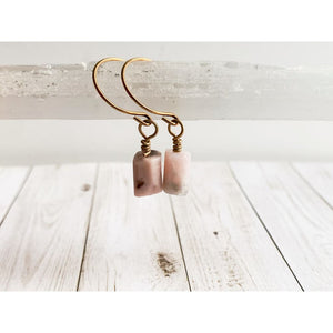 Pink Opal Dangle Earrings - Gold Arrow Studios