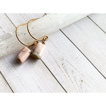 Load image into Gallery viewer, Pink Opal Dangle Earrings - Gold Arrow Studios