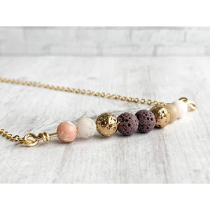 Pink Opal Diffuser Necklace - Gold Arrow Studios
