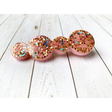 Load image into Gallery viewer, Pink Party Glitter Clips - Circles - Stud Earrings