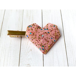 Pink Party Glitter Clips - Heart - Stud Earrings