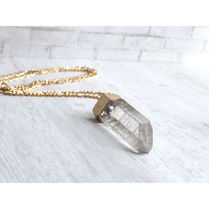 Quartz Point Stone Necklace - Gold Arrow Studios