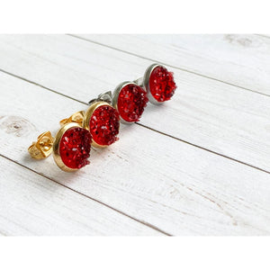 Ruby Red Druzy Studs - Stud Earrings