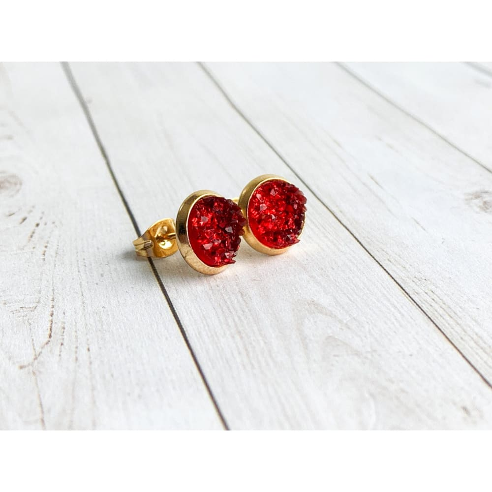 Ruby Red Druzy Studs - gold - Stud Earrings
