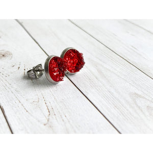 Ruby Red Druzy Studs - silver - Stud Earrings