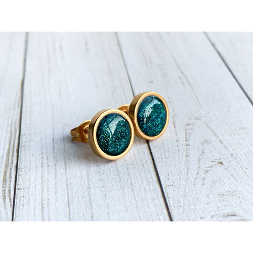 Sea Green Studs - Gold Arrow Studios