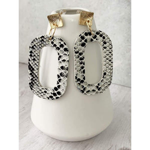 Snakeskin Vegan Leather Dangle Earrings - Gold Arrow Studios