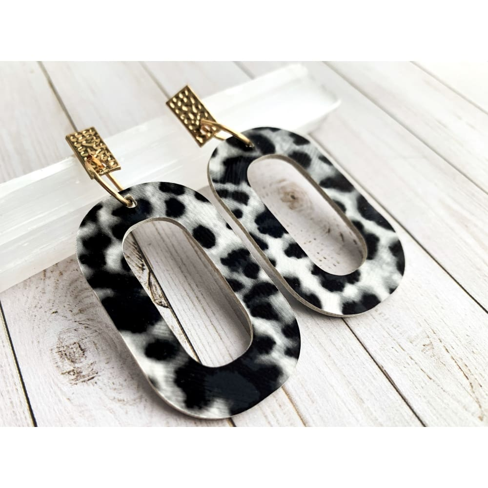Snow Leopard Vegan Leather Dangle Earrings - Gold Arrow Studios