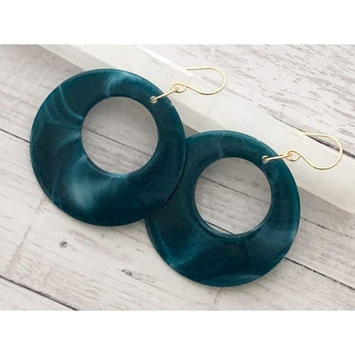 Teal Large Hoop Dangle Earrings - Gold Arrow Studios