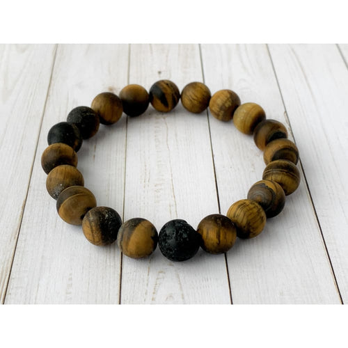 Tiger Eye Diffuser Bracelet - Gold Arrow Studios