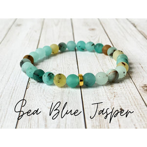 Tiny Gemstone Bracelets - Sea Blue Jasper - Bracelet
