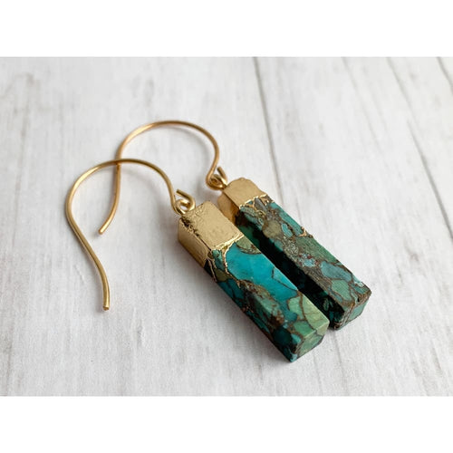 Turquoise and Gold Dangle Earrings - Gold Arrow Studios